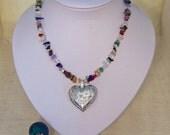 Quartz Necklace with Heart Pendant, Pendant Necklace, Gemstone Necklace, Handmade Jewelry, UK Seller