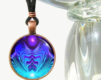 "Chakra Art Necklace, Blue Jewelry, Purple Third Eye, Reiki Energy Pendant ""Intuitive Truth'"