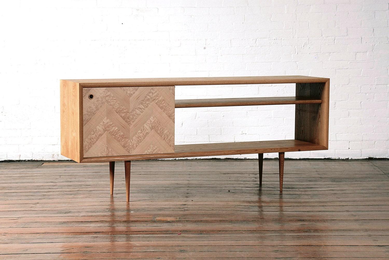 mid century modern media console chevron by gksfurnituremaker. Black Bedroom Furniture Sets. Home Design Ideas