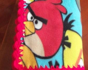 Baby Blanket Angry Birds Fleece with Red Crochet Edge
