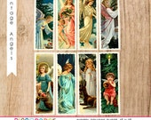 Christmas Religious Angels Digital Collage Sheet,1x3, For arts and Crafts, Jewelry