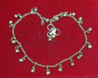 "Vintage Hand Made Silver Rajasthan Belly Dance Tribal Fusion Hippie Boho Dangles Bracelet or Anklet 10-3/4"""