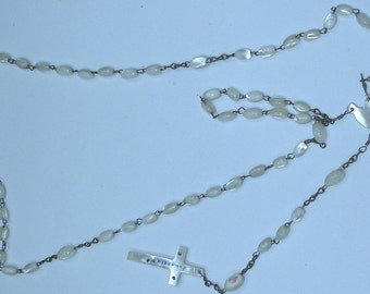 Antique Victorian Mother Of Pearl Rosary Necklace From Jerusalem