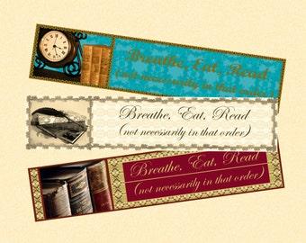 "Bookmarks. PDF, ""Elegant Breathe, Eat, Read"", 3 printable digital designs"