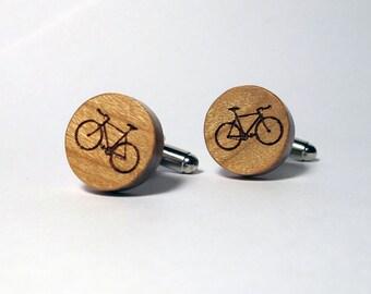 Bike Cuff Links, Wood, Laser Cut