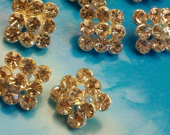 """20 Pieces  Silver Metal Rhinestone Buttons Square Diamond Shaped ,13 mm . """"Sally SQ"""" ,"""