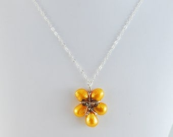 Sunflower Necklace Freshwater Pearl Flower Girl Jewelry Smoky Quartz Bright Yellow Child Children Floral Wire Wrapped Sterling Silver