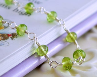 Genuine Peridot Necklace, August Birthstone, Lime Green Gemstone, Sterling Silver, Child Children's Jewelry