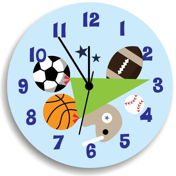 kids wall clock children room decor all star sport wooden