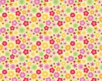 Ladybug Garden - Ladybug Flowers in Yellow by Doodlebug Designs for Riley Blake Fabrics
