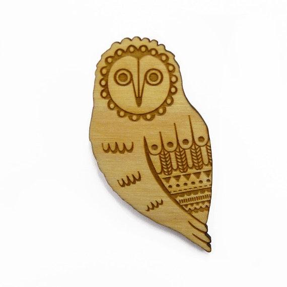 Woodland owl brooch ~ laser cut Jewellery