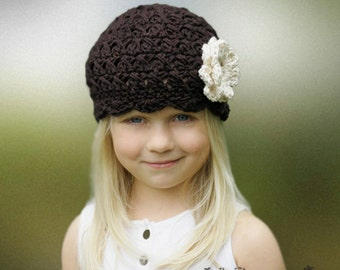 Girl Hat, 2T to 4T Toddler Girl Flapper Hat, Espresso with Cream Flower. Great for Photo Props. Gift or Adorable with any Outfit.
