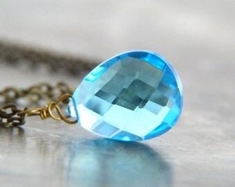 Blue Crystal Necklace - Swiss Blue Quartz Pendant Necklace - Blue Teardrop Crystal Necklace - Blue Jewelry - Winter Jewelry