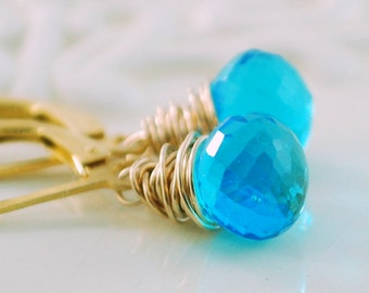 Bright Aqua Earrings, Quartz Gemstone Onion, Wire Wrapped, Lever Back Earwires, Gold Jewelry, Free Shipping