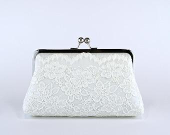 Alencon Lace Silk Scalloped Clutch in Ivory, Wedding clutch, Wedding bag, Bridal clutch, Purse for wedding