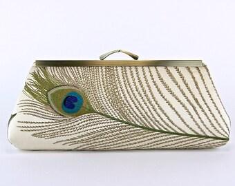 Bridesmaid Clutch, Silk Peacock Clutch in Ivory with Silk Lining, Wedding clutch, Bridal clutch, Evening bag