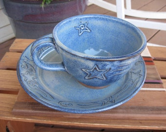 Soup and Sandwich Set Celestial Stars Plate Bowl  Midnight Snack READY TO SHIP