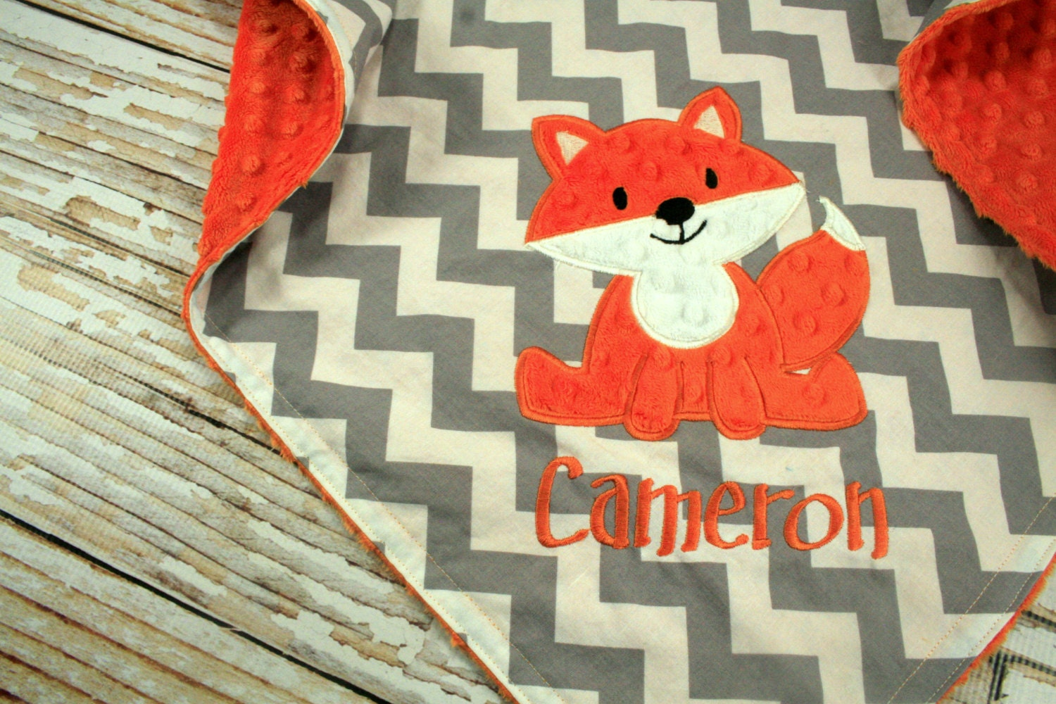 Fox Baby Blanket Fox Applique And Name Included