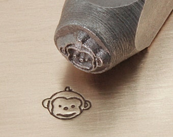 Metal Design Stamp ...Cute Monkey Face ... for Stamping, Jewelry, Keychains, Wood, Clay, Leather, more....