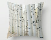 SALE Pillow Cover - Birch Wood Trees - Nature Home Decor - Black White Beige Neutral - Pillow Case - 18x18 - DreamyPhoto