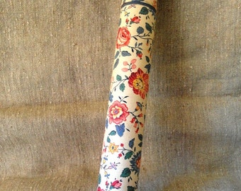 SALE Lovely old FRENCH FABRIC Box Tube for Knitting needles