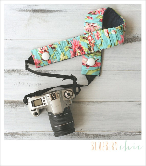 CLOSEOUT SALE - ruched camera strap cover - aqua floral standard size only
