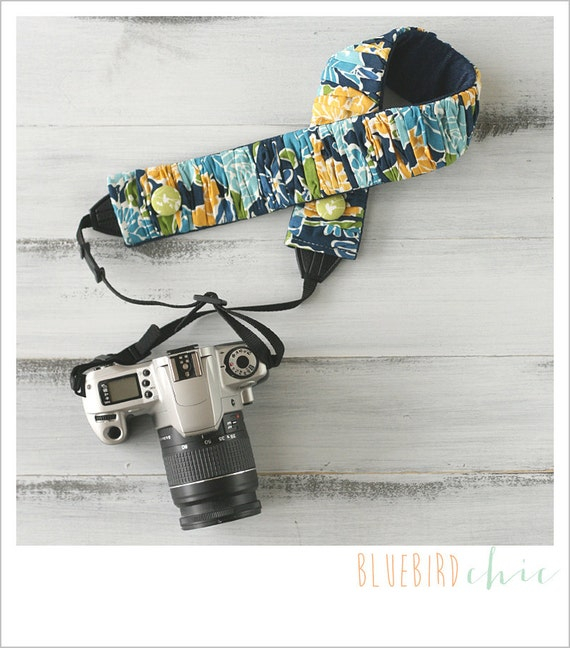 CLOSEOUT SALE - ruched camera strap cover - nautical navy floral
