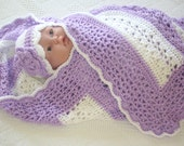 Crochet Baby Blanket Orchid and White Lacy Stripe Girl