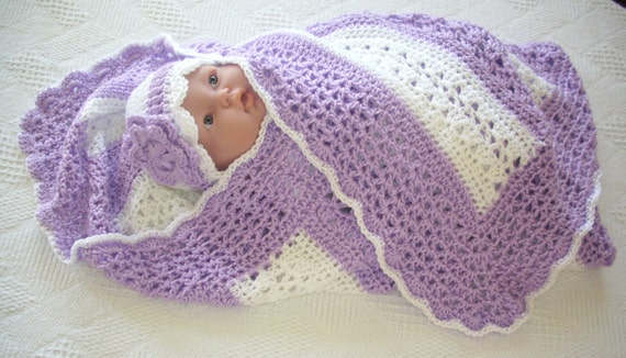 Items similar to Crochet Baby Blanket Orchid and White ...