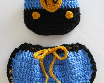 Police hat & pant set blue crochet newborn size photo prop / costume