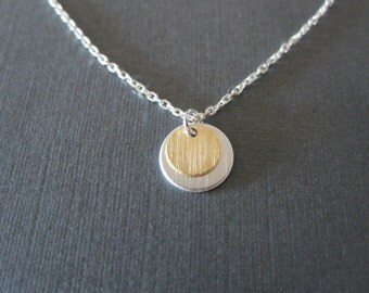 Gold in Silver Double Disc Necklace