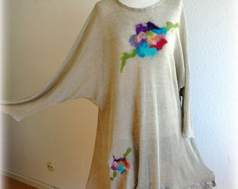 LINEN Knitted Tunic Dress Light as a Feather With Unique Felt Eco Friendly Art Fiber  Clothing Natural , Extra Large L XL Plus Size