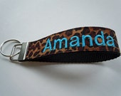 Monogrammed Keychain Wristlet in Leopard Print FULLY CUSTOMIZABLE