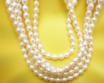 4-5mm white, rice  freshwater pearls , full strand
