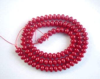 Red bamboo coral rondelles (6x4mm) , Full stramd