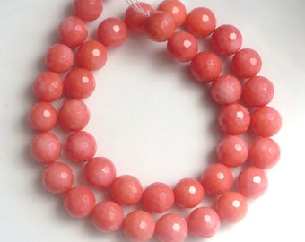 10mm  Pink Coral faceted round beads ,  coral full strand, salmon coral