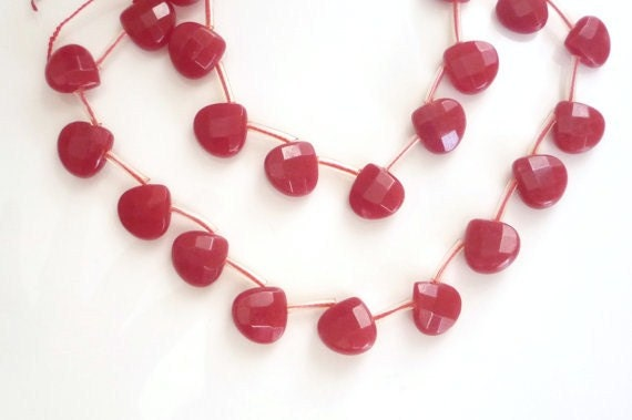 6 pcs Red jade , faceted  heart briolette,(12mm), Red heart,