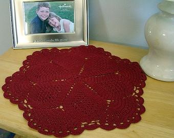 Scarlet crimson red crochet table top doily