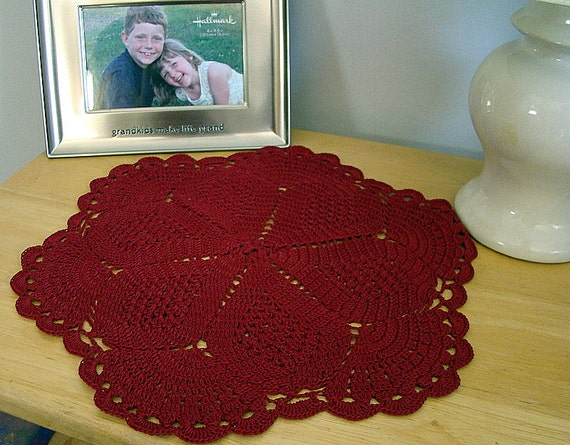 Scarlet crimson red crochet table top doily