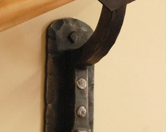 Hammered Steel Railing Bracket - Heavy Hammer Texture