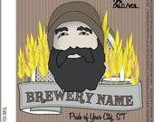 Home Brew Customized Beer Label - Bearded Man - DIGITAL FILE