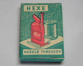 Vintage Hexe Needle Threader in Original Packaging with Instructions made in Western Germany