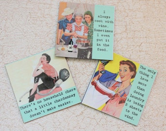 Funny Magnets for the Happy Housekeeper Three  Sassy Sayings