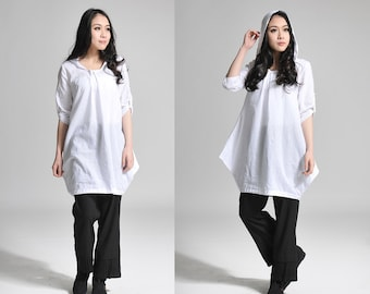 Free Style Hoodie/ Linen Women Long Blouse/ Any Size/ 26 Colors/ RAMIES