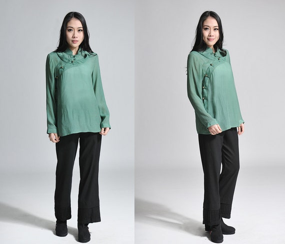 Silk Blend Blouse with Extra  Laced Collar / Any Size/ 20Colors/ RAMIES