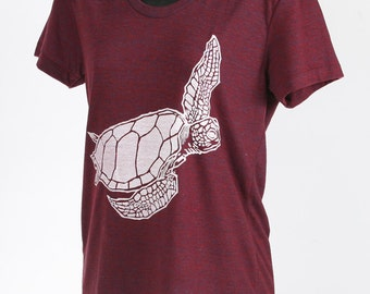 Sea Turtle on Tri Cranberry Tri Blend Women's American Apparel T Shirt S, M, L, XL