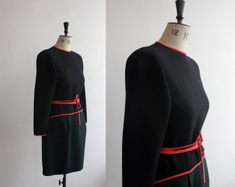 Vintage 1980s Black and Red Geoffrey Beene Designer Dress and Jacket Size M