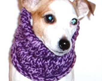 Dog Snood Purple Knitted