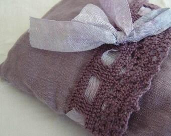 Lavender Eye Pillow - Bella Notte Amethyst Linen Crochet Trim