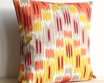 Orange and Gold Ikat Pillow Sham 18x18 Ikat Cushion Cover - Ikat Zigzag Spice